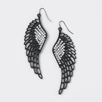 Dark Silver and Crystal Large Wing Drop Earrings  | Claire's