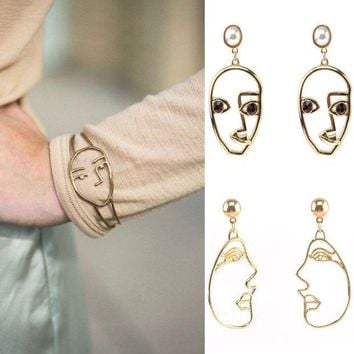 LMFUV2 Hollow open face mask bracelet and earrings set