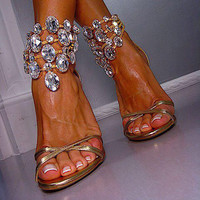 Golden Color Rhinestone Ankle Wrap Stiletto Heel Sandals