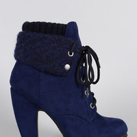Bamboo Sweater Cuff Down Suede Lace Up Heeled Booties