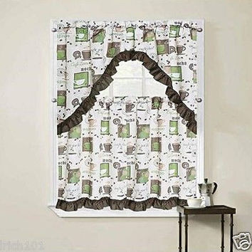 "3 Piece Cappuccino Green Kitchen Curtain Set With Swag and 36""L Tiers"