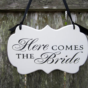 "Wedding Sign, Hand Painted Wooden Shabby Chic Flower Girl / Ring Bearer Sign, ""Here Comes the Bride"""