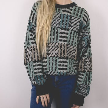 Vintage Geometric Print Cosby Sweater