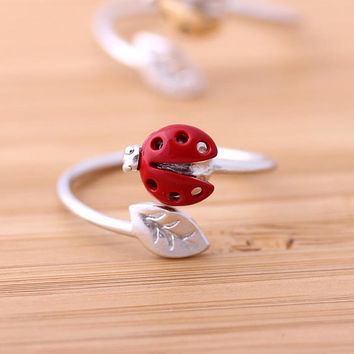 ladybug leaf ring adjustable in silver red by bythecoco on Etsy