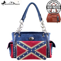 Montana West Confederate Flag Collection Handbag with Built-in Clutch