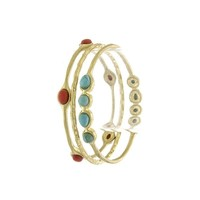 Turquoise and Red Faux Gem Bangle Set