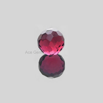 Rare Football Cut Pink Tourmaline Quartz Loose Gemstone 15mm Round Shape Faceted AAA Grade - 1 Pcs.