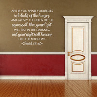 Christian Wall Decal. And If You Spend Yourselves - CODE 168