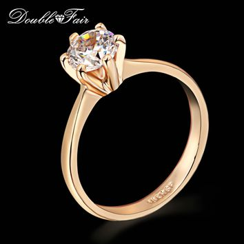 Six Claw 1 Carat Cubic Zirconia Wedding/Engagement ring Rose Gold
