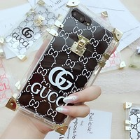 GUCCI Trending Stylish Jelly Transparent Crystal iPhone Phone Cover Case For iphone 6 6s 6plus 6s-plus 7 7plus 8 8plus X White I12270-1