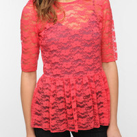 Pins and Needles Lace Peplum Top