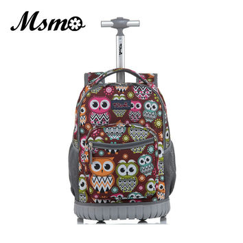 MSMO Luggage 18 Inch Rolling Backpack Wheeled Book Bag Kids Children Trolley School Bag Laptop Bag Travel Backpack for Girls