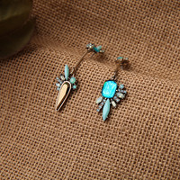 fashion jewelry delicate mixed color shiny glass crystal pave star &crescent moon stud earrings women free shipping=SP121