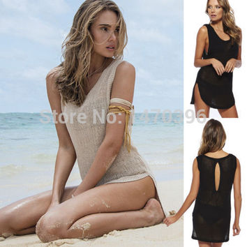 Women Bikini Swimwear Cover Up Beach Dress Lace Hollow Crochet Sleeveless Vest