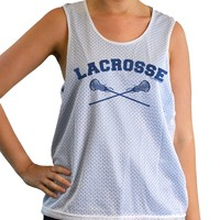 Girls Racerback Pinnie Lacrosse With Crossed Sticks Navy | Lacrosse Racerbacks | Lacrosse Pinnies | Lacrosse Tank Tops | Pinnies for Lacrosse Players