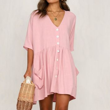 Women's new V-neck pocket short dress pink