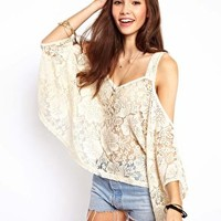 Top with Lace Cold Shoulder