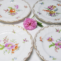 Antique Dresden Germany Plates, Richard Klemm Dresden Floral B&B Plates