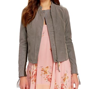 Free People Cool & Clean Notch Collar Zip Front Faux-Suede Moto Jacket | Dillards
