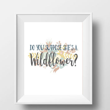 "Alice In Wonderland Do You Suppose She's A Wildflower Disney Quote DIGITAL DOWNLOAD 8"" x 10"" Printable Blue Yellow Home Nursery Decor Sign"