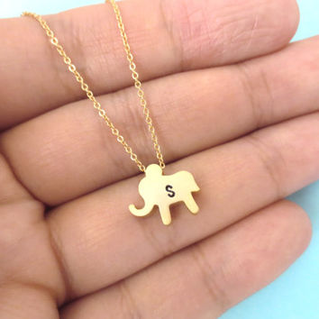 Simple, Cute, Baby, Elephant, Initial, Personalized, Handstamped, Necklace