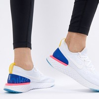 Nike Running Epic React Trainers Flyknit In White And Blue at asos.com