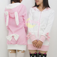 Pink/Black/White/Grey 4 Colours Thin Fleece Bunny Hoodie Long Coat Jacket Free Ship SP141287 from SpreePicky