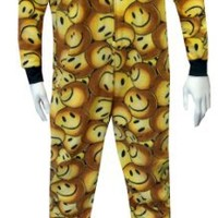 Yellow Smiley Faces Adult Footie Onesuit Pajama for men (Small)