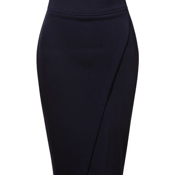 Stretchy Fitted High Waisted Pencil Midi Skirt