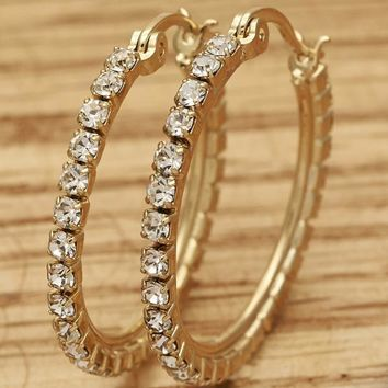 Gold Layered Women Small Hoop, with White Crystal, by Folks Jewelry