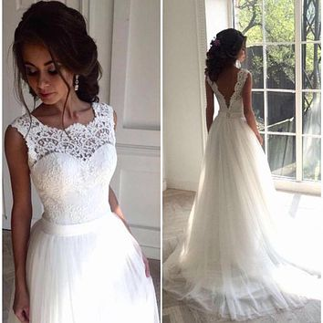 vestido de noiva White Lace Appliques Boho Wedding Dresses 2017 A-line Backless Beach Wedding Dress trouwjurk