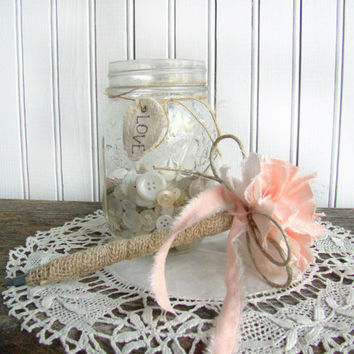Rustic Peach Guest Book Pen, Burlap Wrapped, Shabby, Chic, Wedding Guest Book