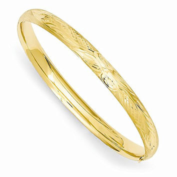 14k 3/16 Florentine Engraved Baby Bangle Bracelet, Best Quality Free Gift Box Satisfaction Guaranteed