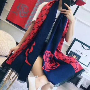 """Gucci"" Women All-match Fashion Multicolor Two Sides Rose Flower Cashmere Shawl Thickened Winter Scarf"
