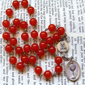 Chaplet of the Blessed Sacrament - Orange Red Czech Glass Beads, Large Chaplet