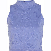 River Island Womens Blue embossed pattern turtle neck crop top