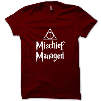 HARRY POTTER Shirt Mischief Managed T-Shirt Black White Gray Maroon Unisex T-Shirt Tee S,M,L,XL #6