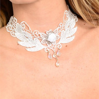* Flower Beads Victorian Lace Choker Necklace