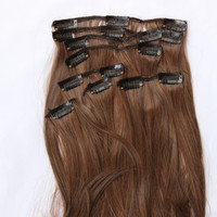 "24"" Dark Brown with Auburn Hair Extensions, Clip In Hair Extensions, Clip On Hair, Long Hair, Thick Hair, 8-Piece Set, #2/30 Hair Color"