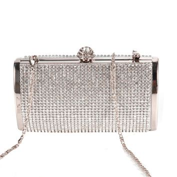 Handbag Pouch Wallet Rigid Metallic Deco Rhinestones for Woman Girl Silvery