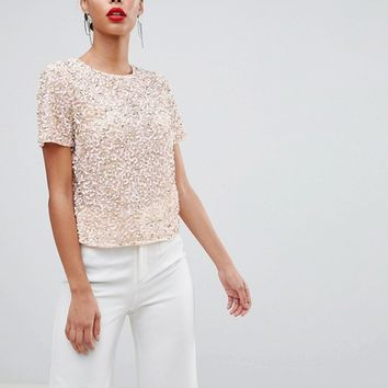 ASOS DESIGN Tall T-Shirt With Sequin Embellishment at asos.com