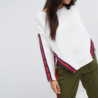 Glamorous Top With Sports Stripe at asos.com