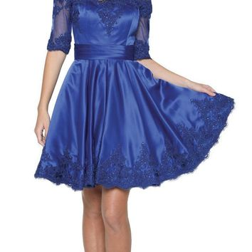 Royal Blue Homecoming Short Dress Off-Shoulder with Appliques