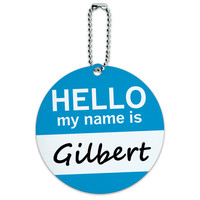 Gilbert Hello My Name Is Round ID Card Luggage Tag