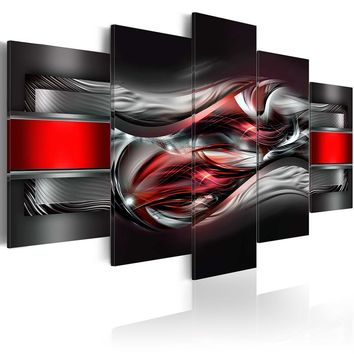 Abstract Canvas Wall Decoration Scroll Poster Black and Red Art Print  5 Panels HD Printed for Home Decor Room Wall Pictures