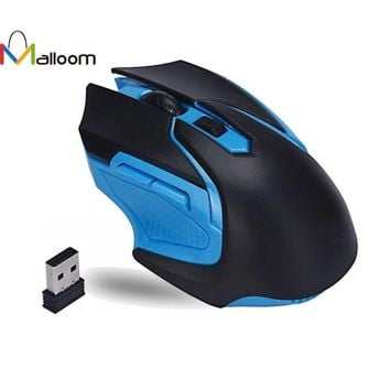Blue and Black 3200 DPI 6 Button 2.4GHz Wireless Optical Gaming Mouse