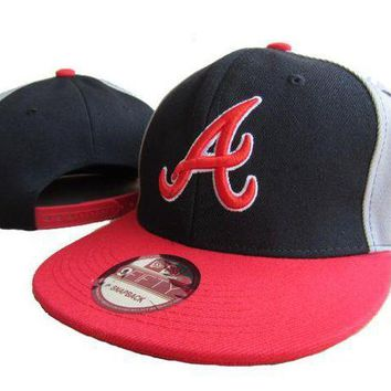 ICIKBE6 Atlanta Braves New Era MLB 9FIFTY Hat Black-Red