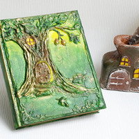 Fairy tale forest book, Fantasy diary, Fantasy Book, green journal, book, woodland Fantasy diary, Altered Blank Book,