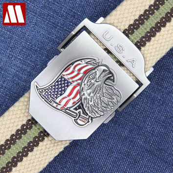 Real Striped Adult Fashion Men Leather Belt Ultra Long Star Stripe Canvas Belt Man Automatic Buckle Strap Knitted