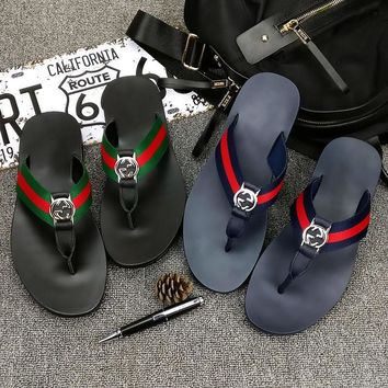 GUCCI Unsex Casual Fashion Leather Sandal Slipper Shoes